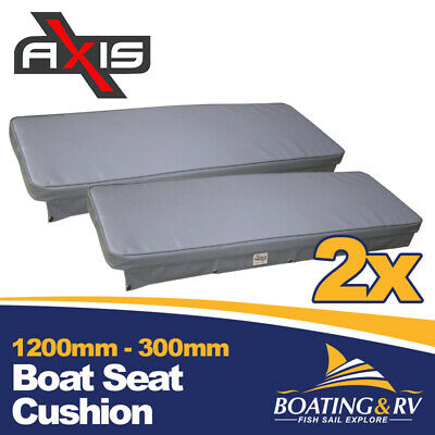 2 x 1200mm x 300mm Boat Cushion Upholstered Vinyl Marine Tinnie Relaxn Grey Seat