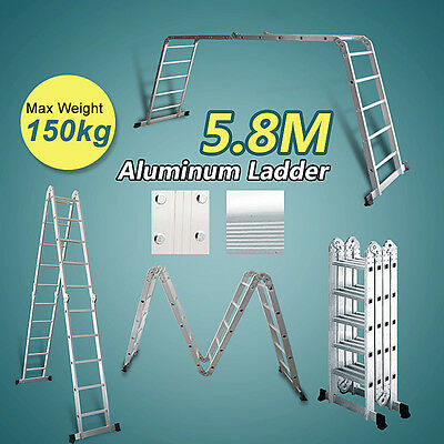 *** QLD PICK UP *** 5.8M Adjustable Aluminium Extension Multi Purpose Ladder