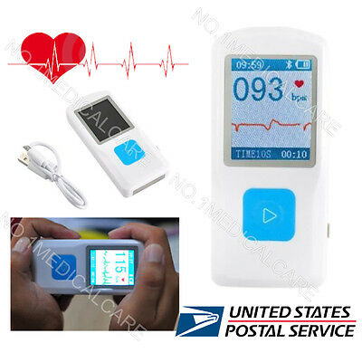 Bluetooth USB Handheld ECG Machine EKG Heart Rate Monitor Electrocardiograph US
