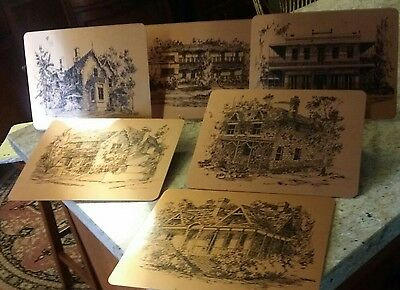 vintage  COPPER PLACEMATS HOUSES OF AUSTRALIAN TREVOR OPRAY DRAWINGS '75