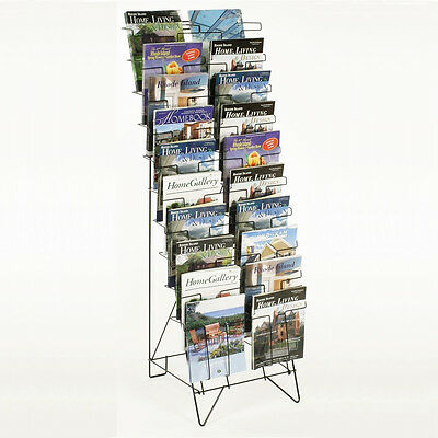 Black Wire Magazine Rack Stand Tier 20 Pocket Sign Slot Organizer Display Holder