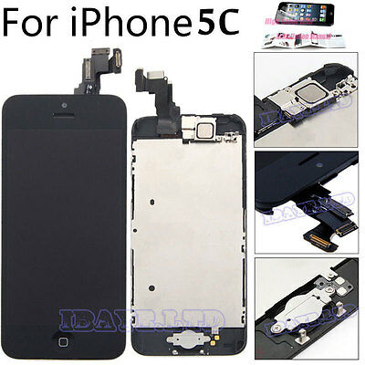 For iPhone 5C Black LCD Touch Screen Digitizer Replacement + Home Button Camera