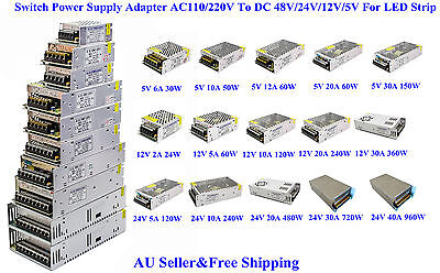 AU Switch Power Supply Adapter AC110/220V To DC 48V/24V/12V/5V For LED Strip 3D