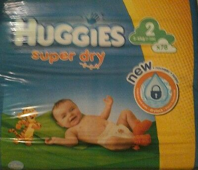 78 Couches Huggies  Super Dry - Taille 2 - 3 A 6Kg