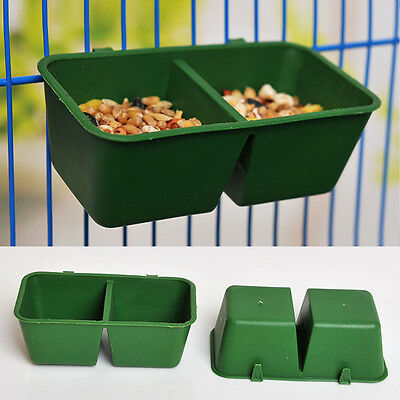 2 in 1 Food Bowl Cups Feeding Plastic Sand Cup Cage Parrot Supplies Bird Pigeons