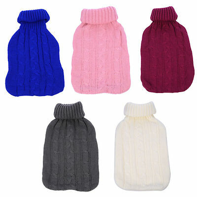 Large 2L Litre Hot Water Bottle with Knitted Covers Many Designs Colors