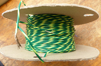 Silver Plated Copper PTFE Wire Cable 20AWG 1MM Green/Yellow HQ 6 meters