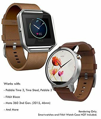 Genuine Leather Strap for Samsung Gear S3, Fitbit Blaze, Pebble 2, Quick Release