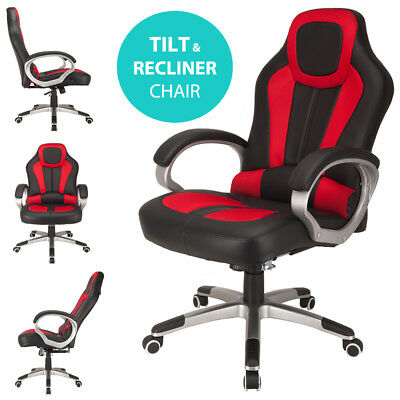 RayGar Deluxe Red Racing Seat Gaming Chair Swivel Computer Desk Office Chair
