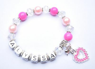 Girls Personalised Name - LOVE HEART Charm Bead Bracelet *Free Post*