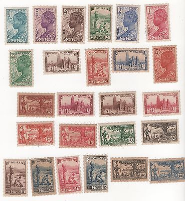 1936 IVORY COAST French Colony Stamps issue x 25 different to 5f face value MUH