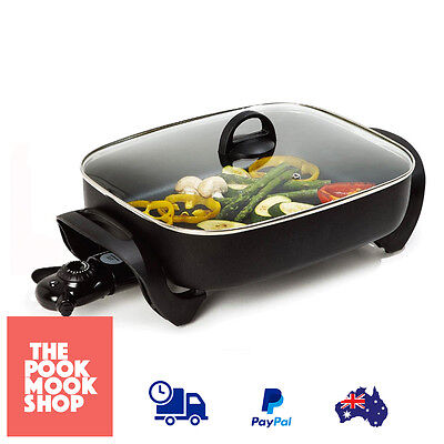 Electric Frypan - Skillet Non Stick, Extra Deep Bowl Large Roasts w/ Glass lid