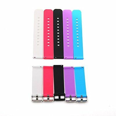 Pebble Time Smartwatch Strap Band with Metal Clasps Siliconed 5-Pieces & Colours
