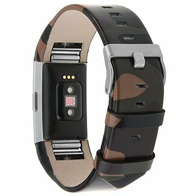 Smart Watch Leather Strap for Fitbit Charge 2 Military Look High Quality New!
