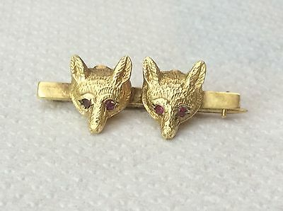 BEAUTIFUL RARE 9ct VINTAGE DOUBLE HEAD FOX BROOCH WITHH RUBY EYES