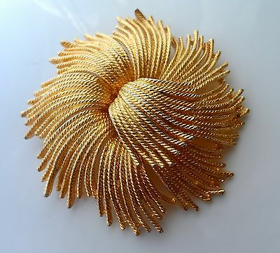 Vintage LARGE 80s Gold Tone Heavy Texture Effect Brooch