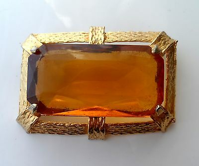Vintage 60/70s Glamourous Gold Tone Large Glass Stone Brooch