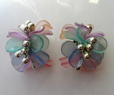 Vintage 80s EXTRA LARGE Chunky Statement Pale Colours Clip-On Earrings