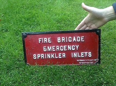 Vintage Cast Iron Fire Brigade Sign / Genuine Antique / Collectable