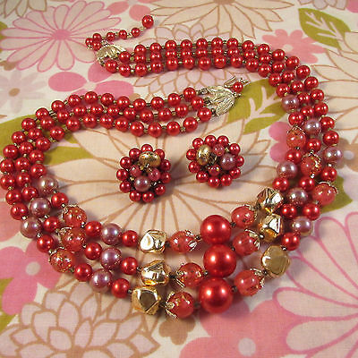 Vintage 1960s Triple Strand Cranberry & Gold Beaded Necklace & Clip Earrings Set