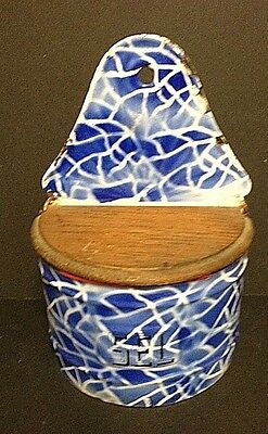 1910 Graniteware or Enamelware. SALT BOX with Fabulous Finish and Wooden Lid
