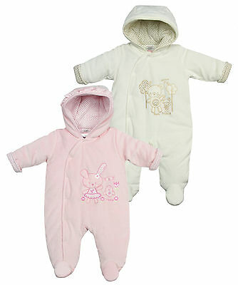 Newborn Baby Boy Girl Hooded SnowSuit Padded Pram Suit Bunny Teddy 0-6m BABYTOWN