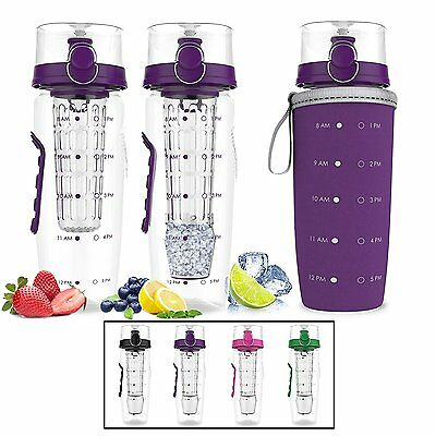 Bevgo Fruit Infuser Water Bottle - Large 1 Litre - Save Your Money and Hydrate -