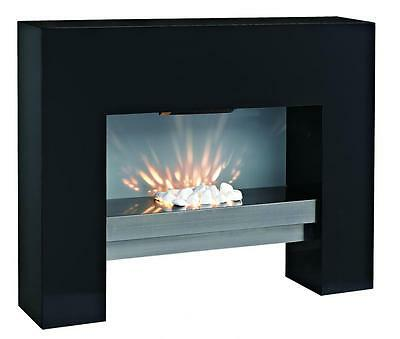 Free Standing Mdf Electric Fireplace Fire Heater Black Led Light