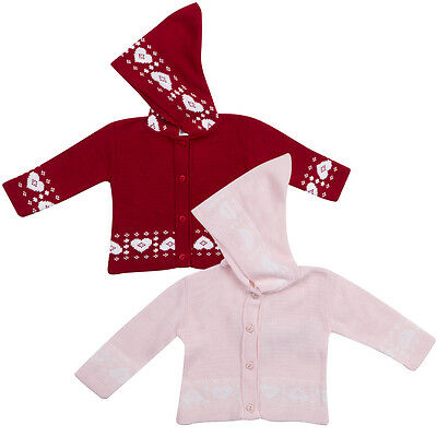 Infant Baby Girl Crochet Knitted Hooded Cardigan Heart Pattern Button Up 0-9m UK