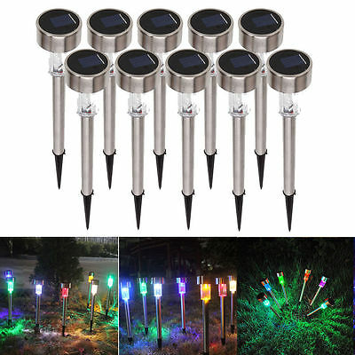 1-10Pcs Outdoor Garden Stainless Steel LED Solar Landscape Path Lights Yard Lamp