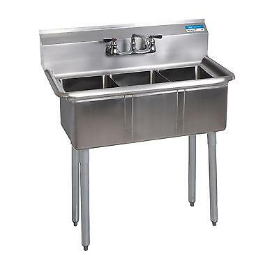 "BK Resources BKS-3-24-14 3 Compartment Stainless Sink w/ 24"" x 24"" x 14""D Bowls"