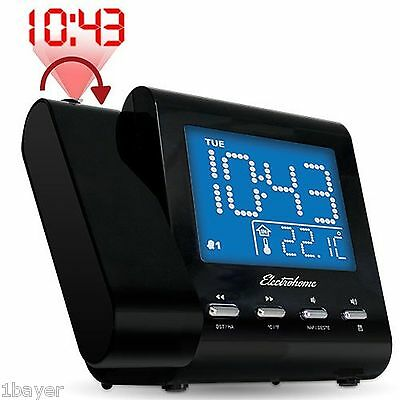 Electrohome Projector Alarm Clock with AM FM Radio Battery Backup Auto Timer