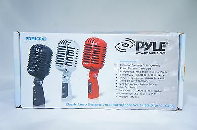 Pyle PDMICR42BK Classic Retro Vintage Style Dynamic Vocal Microphone with 16ft X
