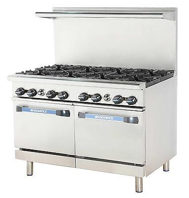 "Radiance TAR-8 48"" Restaurant Gas Range w/ 8 Burners and 2 Ovens"