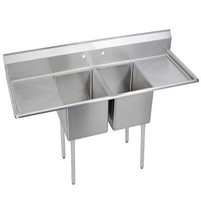 """Elkay Foodservice 2 Comp Sink 24""""x24""""x14"""" Bowl Two 24"""" Drainboards 16/300 Ss - 1"""