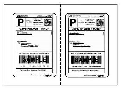 """200 Perforated Round Corner Shipping Labels 2/Sheet 7"""" x 4.5"""""""