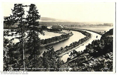 River Ness & Caledonian Canal, Inverness, Scotland vintage Real Photo Postcard