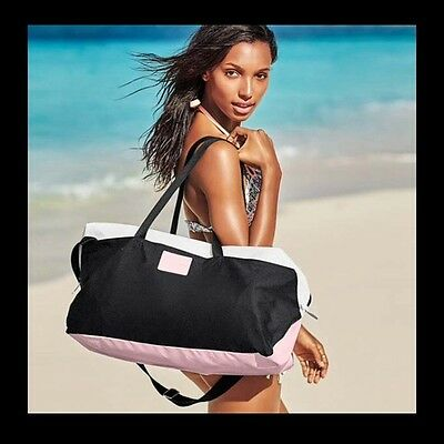 New $99 Victoria's Secret 2015 Black Pink Weekender Tote Bag LIMITED EDITION