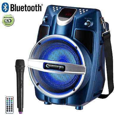 """Technical Pro WASP550 6.5"""" Rechargeable Bluetooth PA Speaker Blue w/ Microphone"""