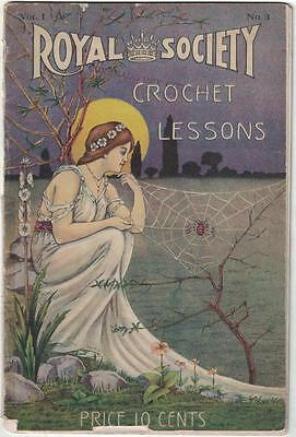 Royal Society Crochet Lessons Vol 1 #3 Antique Sewing Magazine Pamphlet Booklet