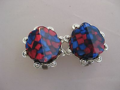 Estate Costume Red and Blue Acrylic Silver Tone Clip Earrings