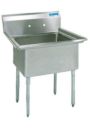 "BK Resources 1 Compartment Stainless Sink NSF w/ 16"" x 20"" x 12"" D Bowl"