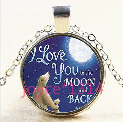 I LOVE YOU TO THE MOON AND BACK Tibetan silver Glass Chain Pendant Necklace#3692