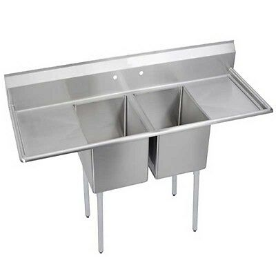 """Elkay Foodservice 2 Comp Sink 20""""x20""""x12"""" Bowls Two 20"""" Drainboards 18/300 S/s"""