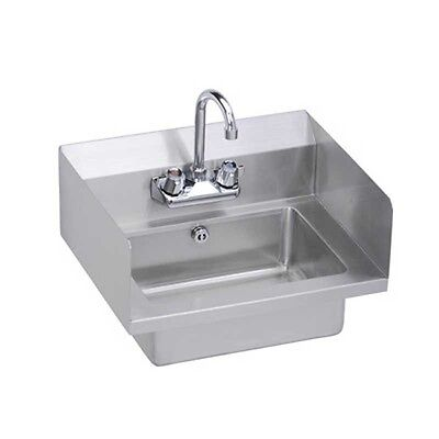 """Elkay Foodservice 18"""" Hand Sink Wall Mount w/ Faucet, Side Splashes, & P-Trap"""
