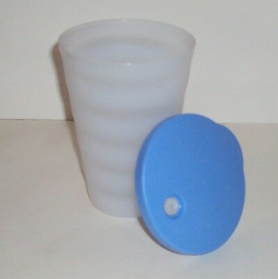 New Tupperware 16 oz Impressions Tumbler 1 White with Blue DripLess Straw Seal