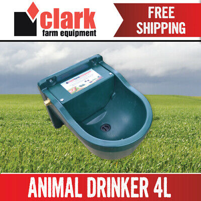 Animal Water Trough 4L &  Automatic Float - Fence Drinker Horse Cattle Cat Dog