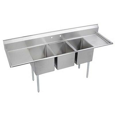 """Elkay Foodservice 3 Comp Sink 18""""x24""""x12"""" Bowls 16/300 S/s Two 24"""" Drainboards"""