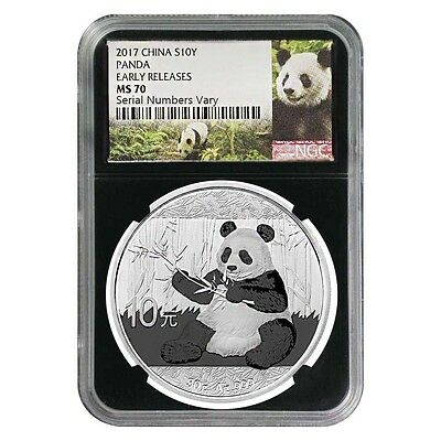 2017 30 gram Chinese Silver Panda 10 Yuan NGC MS 70 Early Releases (Retro)