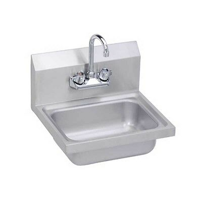 """Elkay Foodservice 17"""" Wall Mount Hand Sink with Gooseneck Faucet Stainless"""